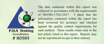 Sample Lab Certificate 1