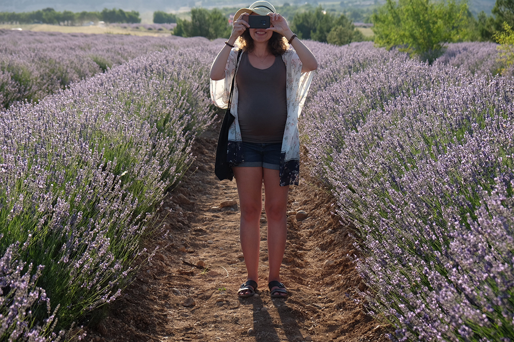 Visitor in lavender field