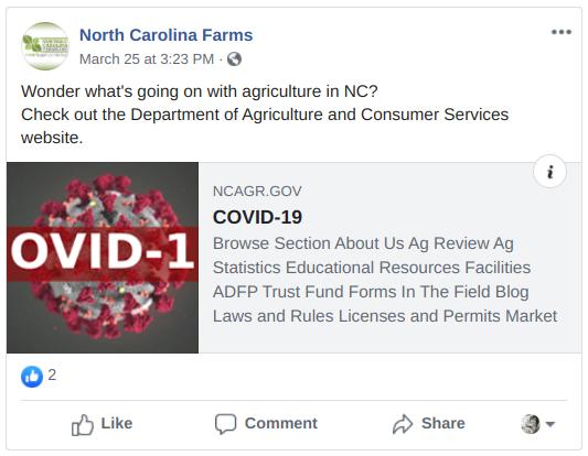 sample North Carolina Farms facebook